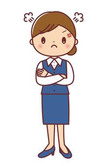 怒る 女性事務員 全身