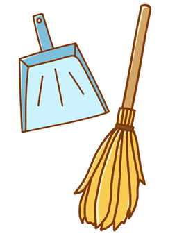 Set of broom and dustpan