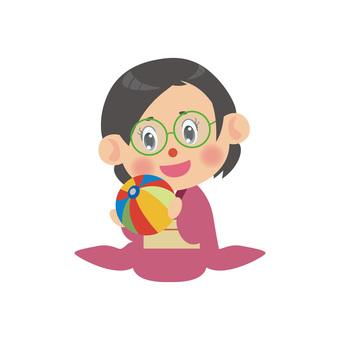 A woman wearing a kimono (regular seat · blown off shop · glasses)