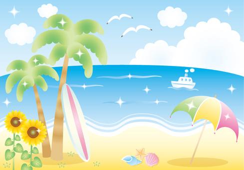 Beach and umbrella