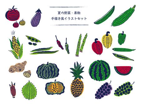 夏野菜・果物の手描き風イラスト02