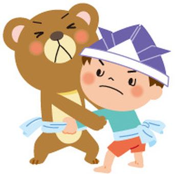 A boy who sumo with a bear