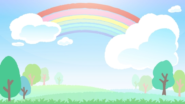 Blue sky and rainbow background