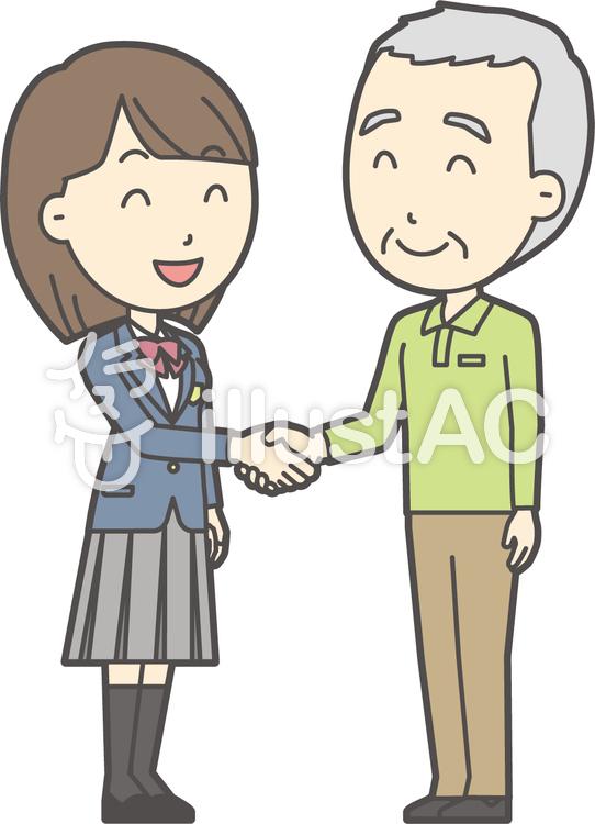 老人男性握手-014-全身のイラスト