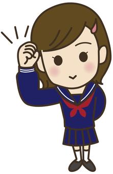 Guts pose _ Girls junior high school student