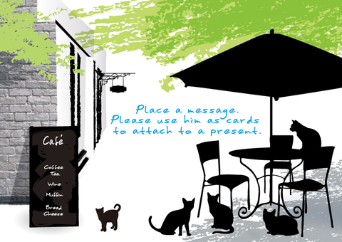 Fresh green cafe and cat message card