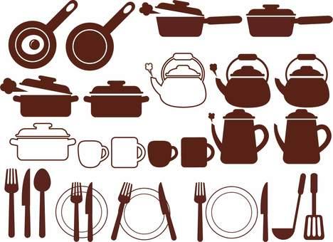 İkon tarzı mutfak eşyaları illüstrasyonu