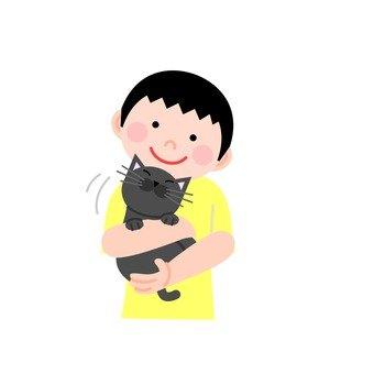 A man holding a cat