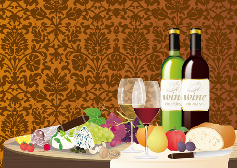 와인과 음식이 오른 테이블 _ 빨간색과 흰색