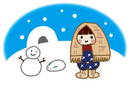 Snow girl playing snow
