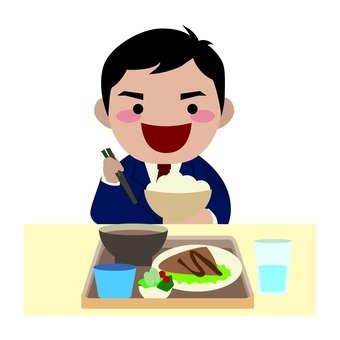 Male employee to eat at employee cafeteria