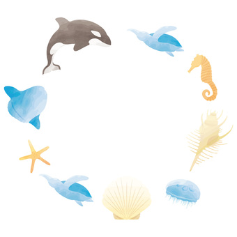 Sea animals circle frame watercolor style