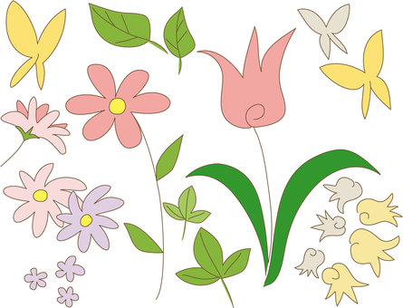 Simple flowers and butterflies