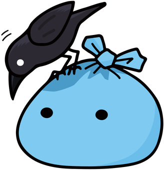 Light blue garbage bag and crow