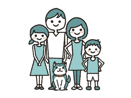 Hand drawn family second generation dog
