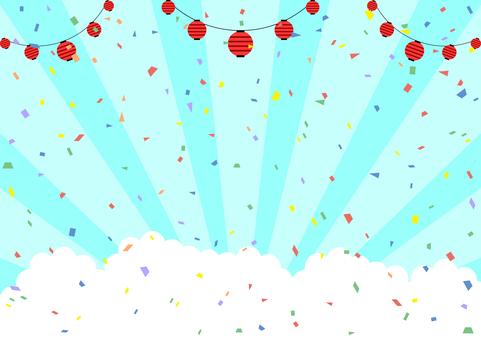 Paper lantern confetti blue sky