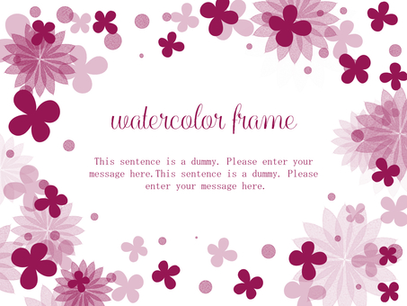 Floral watercolor frame 04 / red