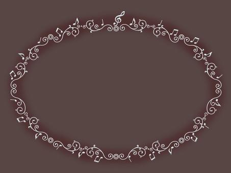 Musical note frame ellipse Sepia
