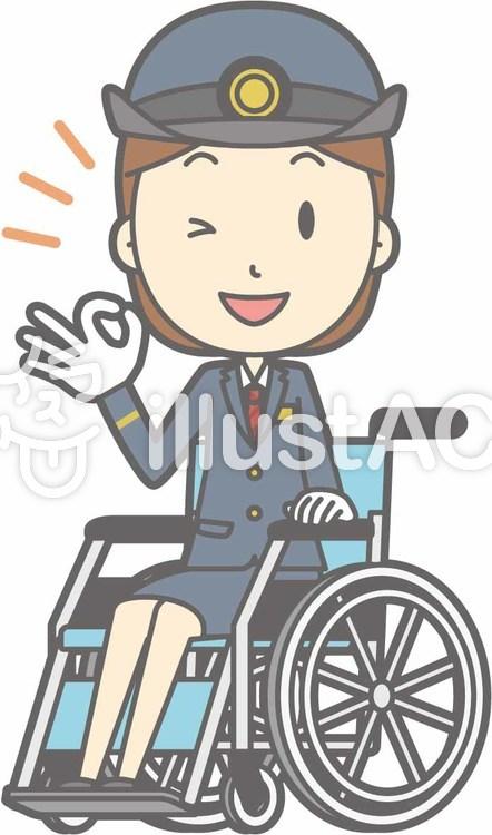 駅員女性a-車椅子オッケー-全身のイラスト