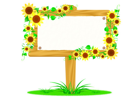 Signboard Wood grain sunflower