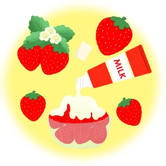 Condensed milk and plenty of strawberries ②