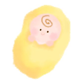 Yellow swaddling baby