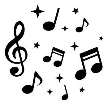 音符と星 モノクロ
