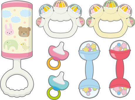 Baby rattle rimmed