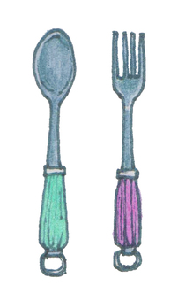 Spoon and fork berry color