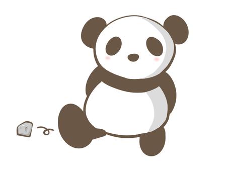 Panda kicking a stone