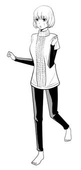 Cartoon illustration Barefoot woman