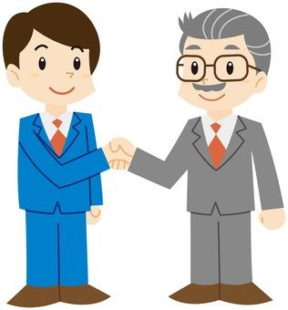 ビジネスで男性(若者・年配)が握手