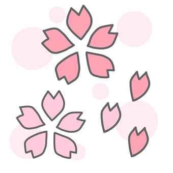 Cherry blossom set (polka dot background)