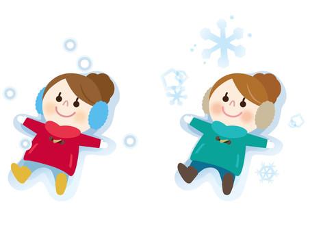Snow and lying girl