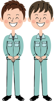 Worker green Two men Front guidance Smile whole body