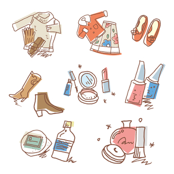 Illustration of female clothes and cosmetics