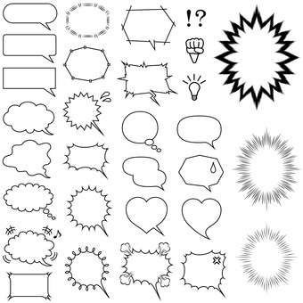 Speech bubble cartoon material set