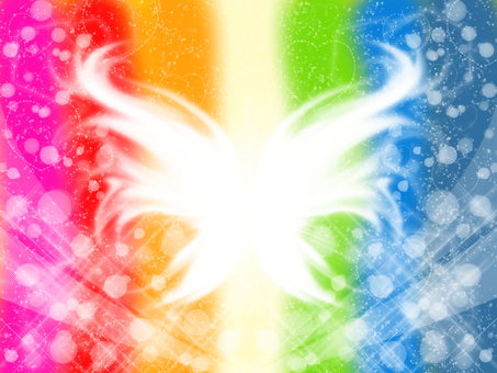 Rainbow-colored angel · butterfly