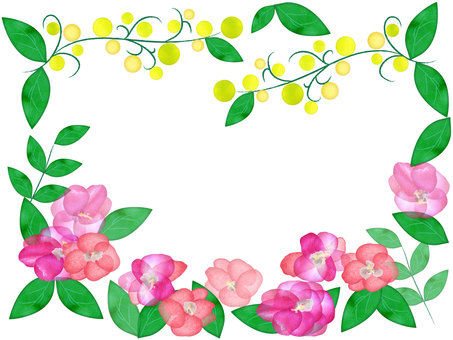 Watercolor style flower frame