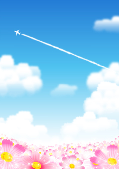 Cosmos and contrail background