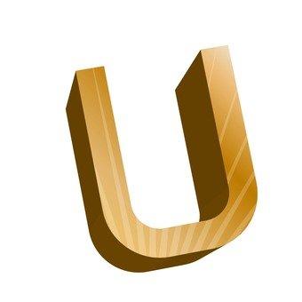 Three-dimensional English word U