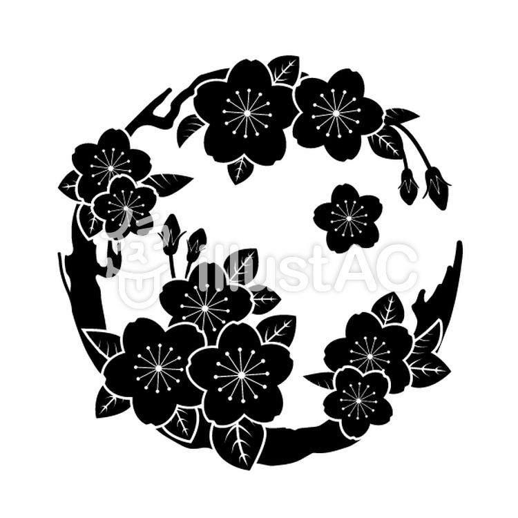 花丸紋様(単色/桜)のイラスト