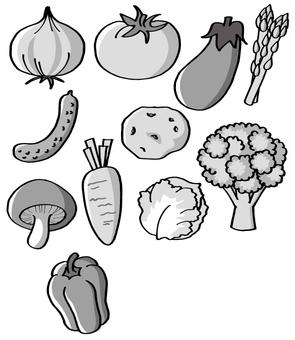 Assorted vegetables (monochrome)
