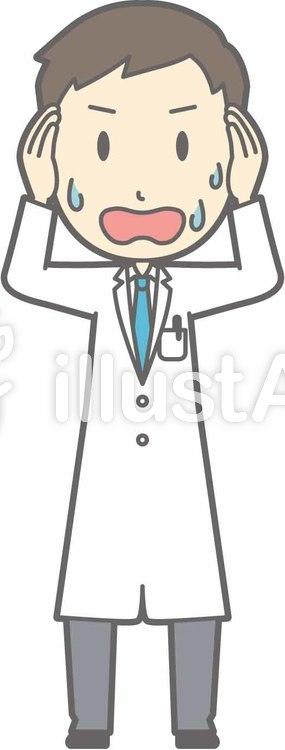 青年医師-大失敗-全身のイラスト
