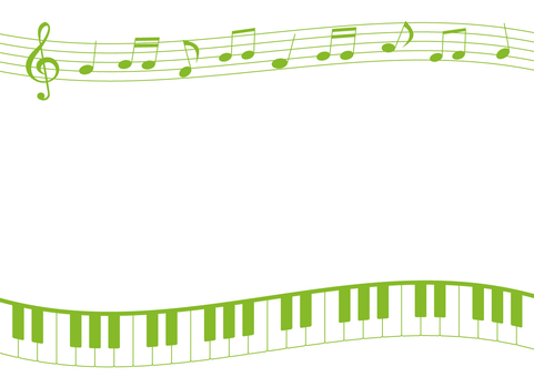 Musical note and keyboard frame (green)