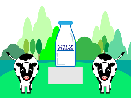 Tourist ranch with cow and milk bottle