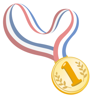 Gold medal with neck around ribbon (1st place)