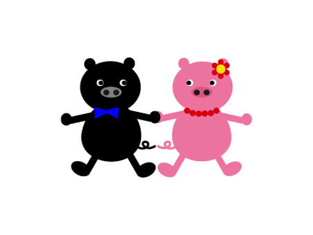 Black pig and pink pig