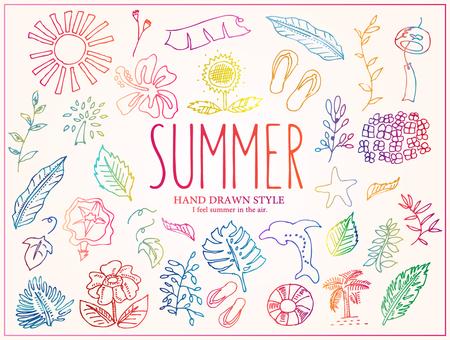 デザイン:手描き夏2