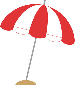 Beach umbrella (red × white)
